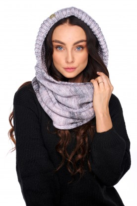 Hood scarf with wool LC139 powder pink