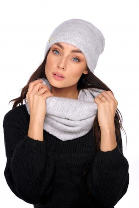 Basic set: hat with pearl and scarf LC141 light grey