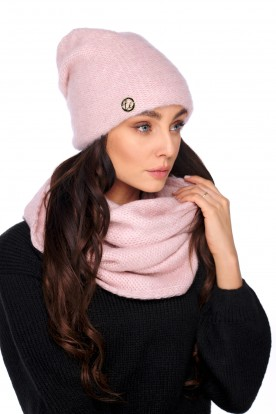 Basic set: hat with pearl and scarf LC141 powder pink