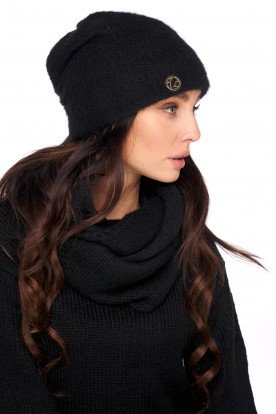 Basic set: hat with pearl and scarf LC141 black