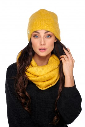 Basic set: hat with pearl and scarf LC141 mustard