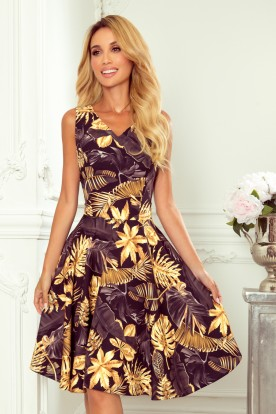 114-13 Flared dress - heart-shaped neckline - Golden leaves