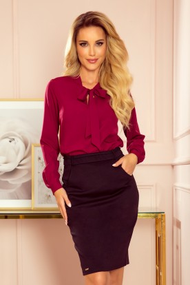 140-12 Blouse with bond - burgundy color