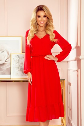304-3 Chiffon midi dress with a neckline and frill - Red