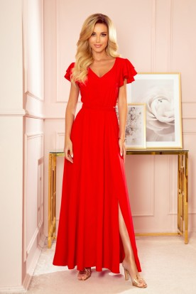 310-2 LIDIA long dress with neckline and frills - red