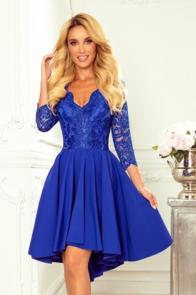 210-12 NICOLLE - dress with longer back with lace neckline - CLASSIC BLUE