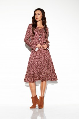 Dress with laced cleavage in patterns LG505 print 7
