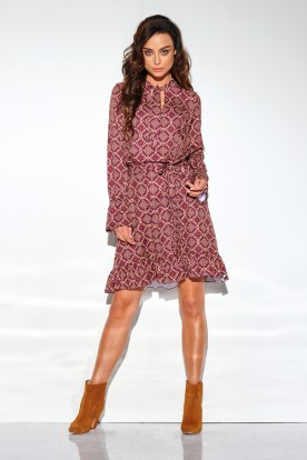 Dress with a frill and a tie at the neck, pattern LG509 print 7