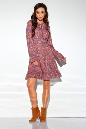 Dress with a frill and a tie at the neck, pattern LG509 print 9