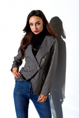 Ladies checked jacket with buttons LG514 print 6