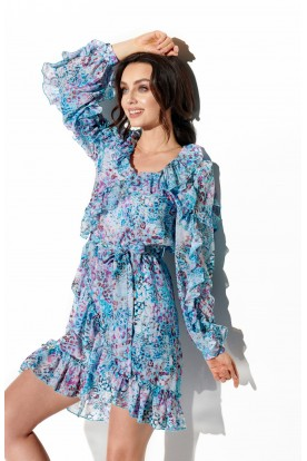 Chiffon dress with silk and frills pattern LG517 print 14
