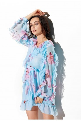 Chiffon dress with silk and frills pattern LG517 print 18