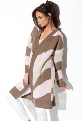 Oversized stripped cardigan LSG121 cappuccino-powder pink