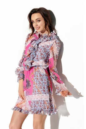 Chiffon dress with silk and ruffle in pattern LG518 print 16