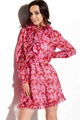 Chiffon dress with silk and ruffle in pattern LG518 print 17