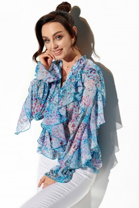Chiffon shirt with silk and frills in patterns LG519 print 14