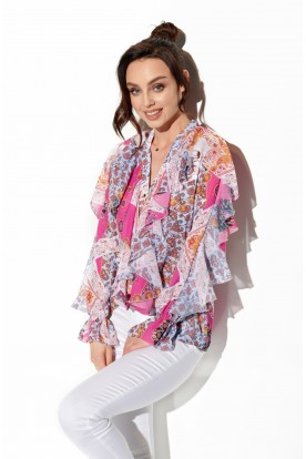 Chiffon shirt with silk and frills in patterns LG519 print 16