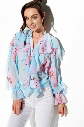 Chiffon shirt with silk and frills in patterns LG519 print 18