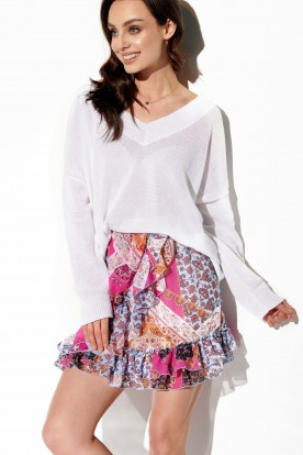Short skirt with silk and frills LG520 print 16