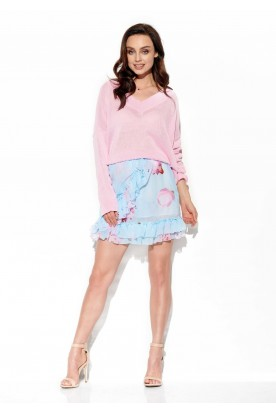 Short skirt with silk and frills LG520 print 18