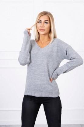 Sweter z dekoltem V szary