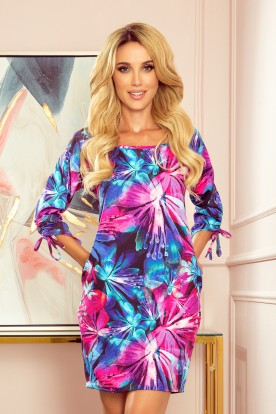 323-1 Comfortable OVERSIZE dress - blue and pink flowers
