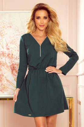 283-2 NANCY Dress with a zipper - green color