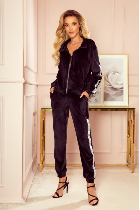 326-2 Velor tracksuit with stripes and a decorative zipper - black