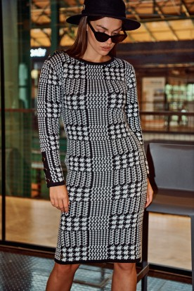 Houndstooth dress LS316 houndstooth