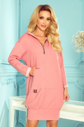 330-1 Kangaroo sweatshirt with a hood and pockets - dark dirty pink