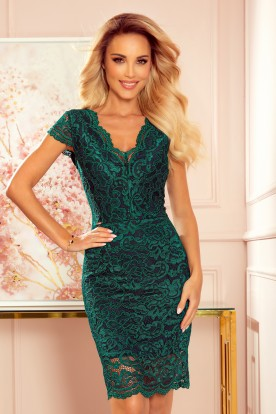316-3 Lace dress with neckline - green