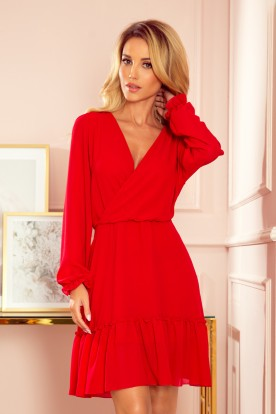 329-2 LAUREN Chiffon dress with a neckline and frills - red