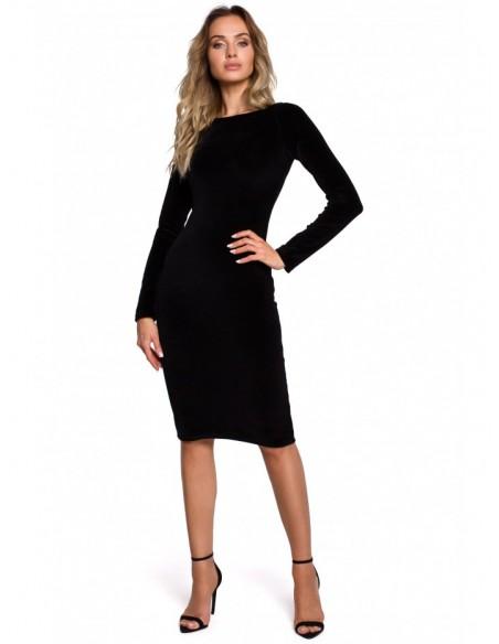 M565 Velvet Pencil Dress - black