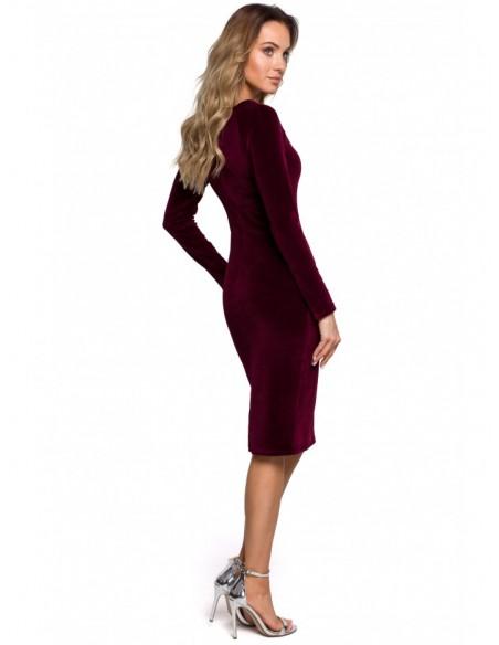 M565 Velvet Pencil Dress - maroon