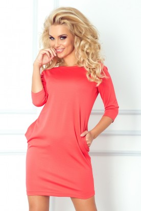 Jola - dress with pockets - coral 40-7