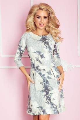 Dress with zippers - blue ornaments 38-9
