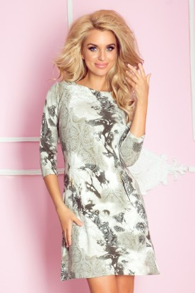 Dress with zippers - green ornaments 38-10
