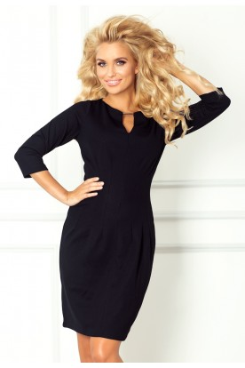 Dress with buckle - thick lacoste - black 68-3