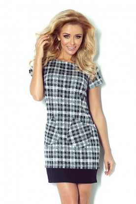 Dress with pockets in petite gray-black grille 62-3