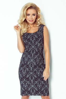 Fitted dress - jacquard thick gray 53-22