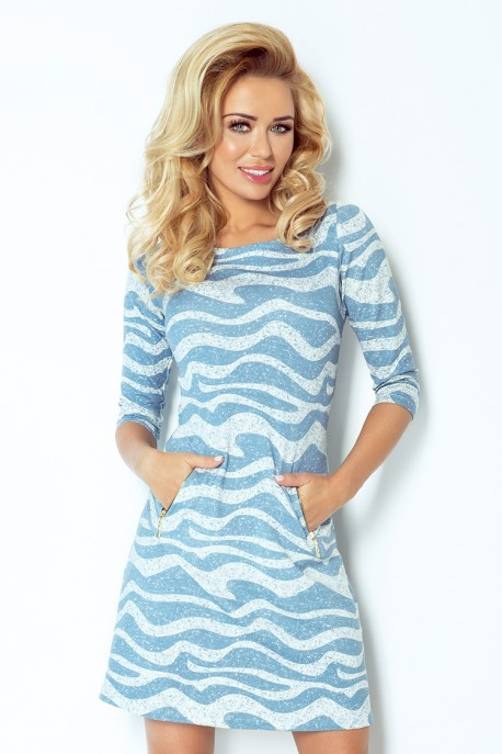 Dress with zippers - blue waves 38-18