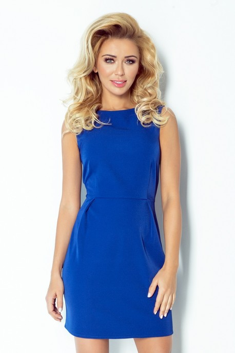 A classic dress with pleats at the waist - royal blue 103-1