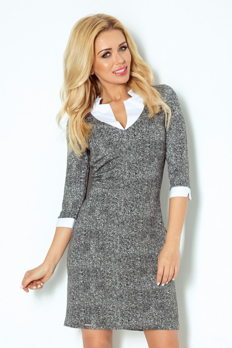 Dress with a square collar - pepper and salt 110-2