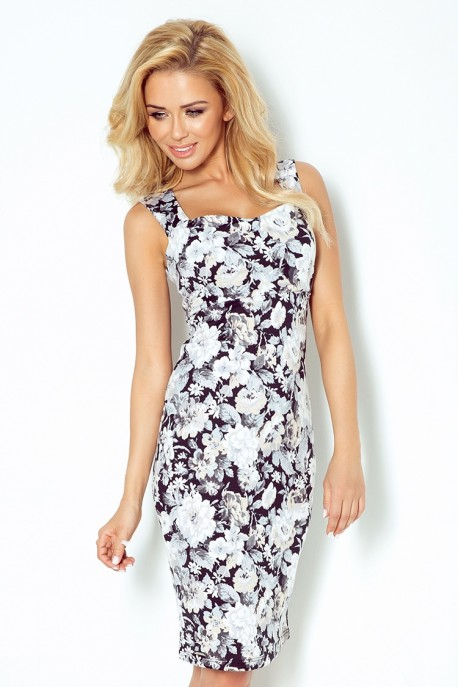 Dress with neckline and cut-out back - ecru flowers 104-3