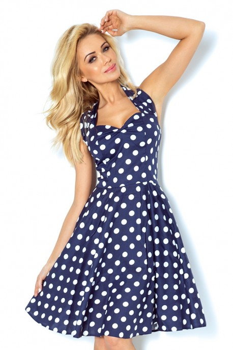 Pin Up dress - navy blue with white dots 30-13