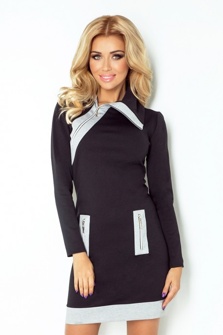 129-2 JUSTYNA dress with three zippers - black + gray zippers