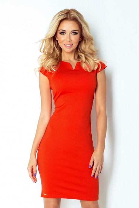 132-4 dress with cut-out - orange