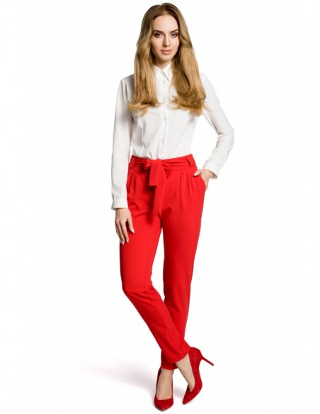 M363 Belted chino trousers - red