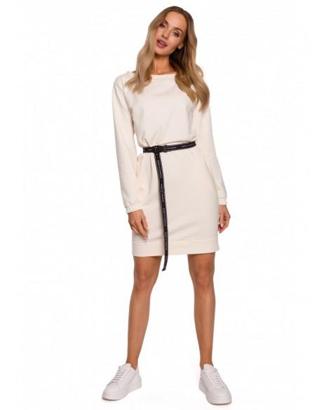 M590 Pullover Dress With Logo Belt - cream