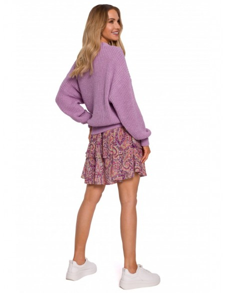 M598 Wrap Front Cardigan With A Tie Detail - lilac